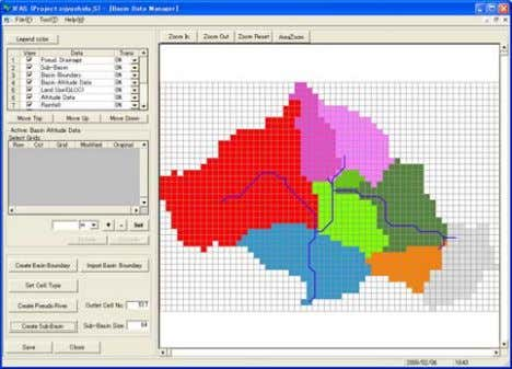 Manager(Creation of rainfall data) Thiessen Tessellation 22 Division of tributary basin Drainage course Distance Weighted