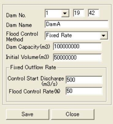 and display Implementing calculation Setting legend ⑥ Dam Control Manager(Dam Control setting) Dam control setting 23