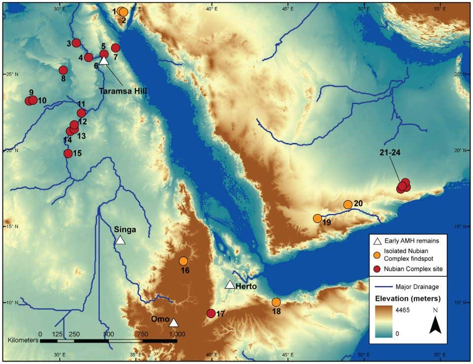 The Nubian Complex of Dhofar Figure 1. Map of Nubian Complex occurrences in Northeast Africa and