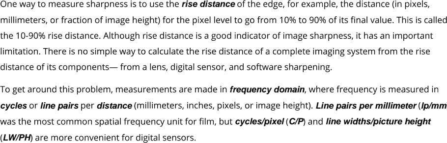 rise distance frequency domain cycles line pairs distance cycles/pixel C/P Line pairs per millimeter lp/mm