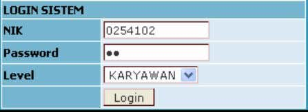 HALAMAN UTAMA HALAMAN KARYAWAN NIK : 0254102 Password : bn