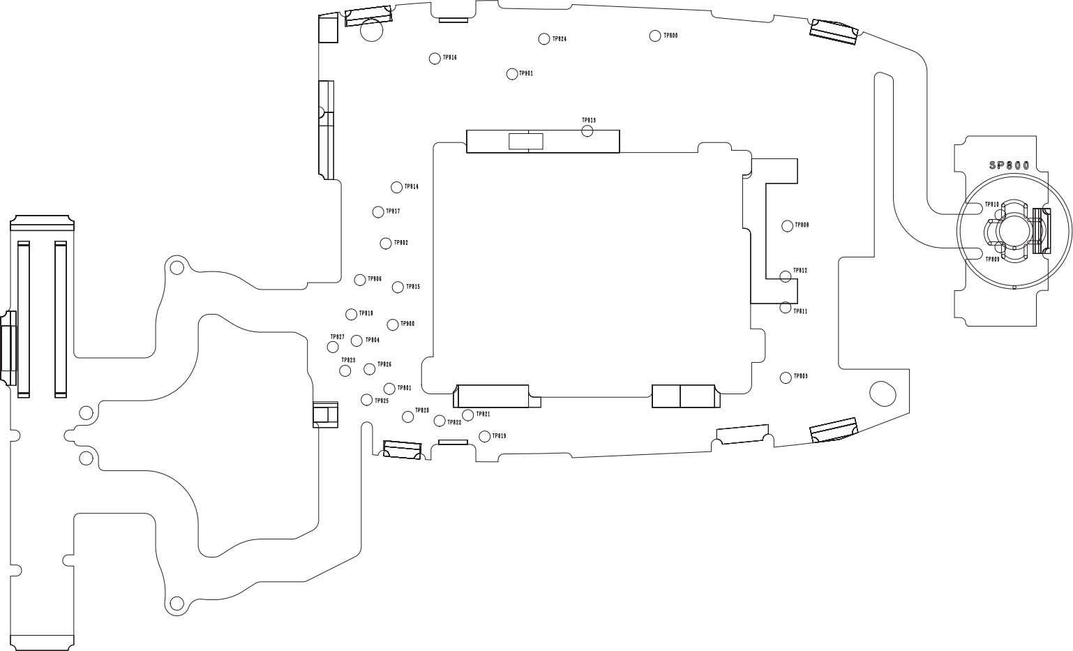 LAYOUT DIAGRAMS Figure 12.4: Display PCB Layout - Side B PMCD030901C8 Section 12 Issue 1 Service