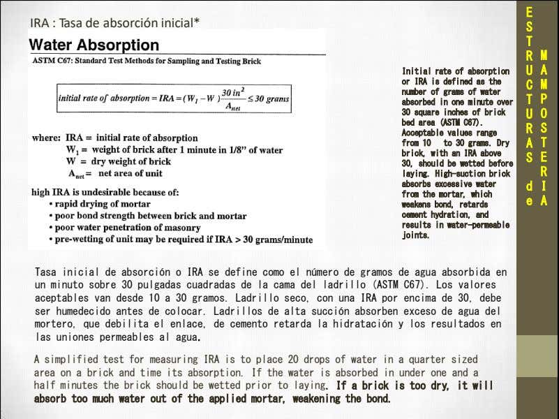 E IRA : Tasa de absorción inicial* S T R M Initial rate of absorption
