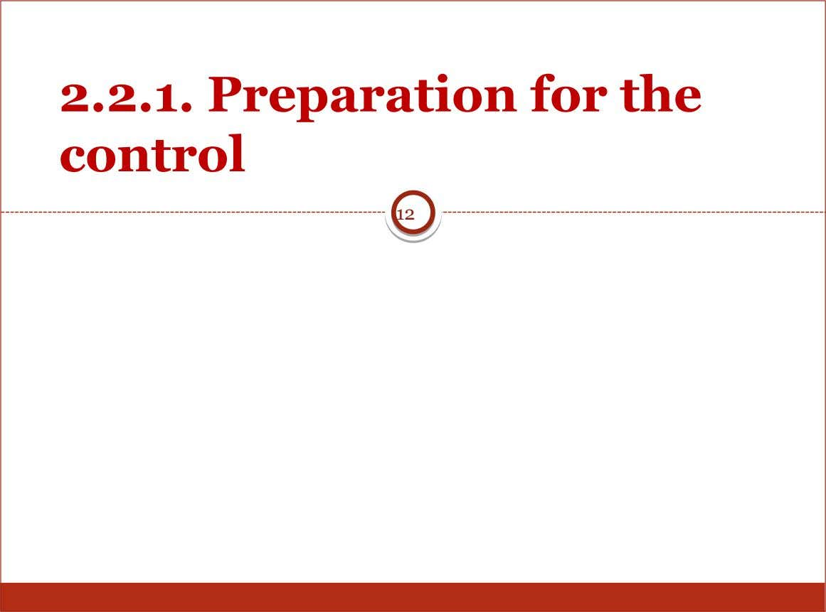 2.2.1. Preparation for the control 12