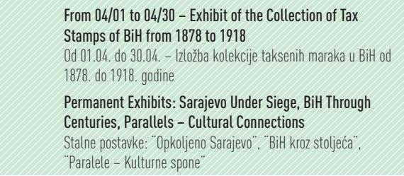 From 04/01 to 04/30 – Exhibit of the Collection of Tax Stamps of BiH from