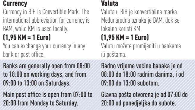Currency Currency in BiH is Convertible Mark. The international abbreviation for currency is BAM, while