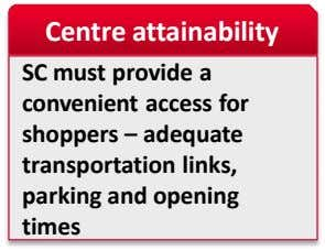 Centre attainability SC must provide a convenient access for shoppers – adequate transportation links, parking