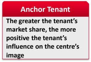 Anchor Tenant The greater the tenant's market share, the more positive the tenant's influence on