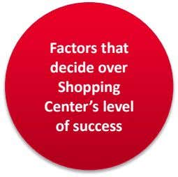 Factors that decide over Shopping Center's level of success