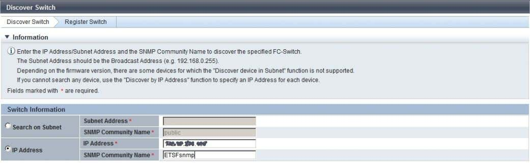 discover the Fibre Channel (FC) switch using the just created settings on that switch. Page 22