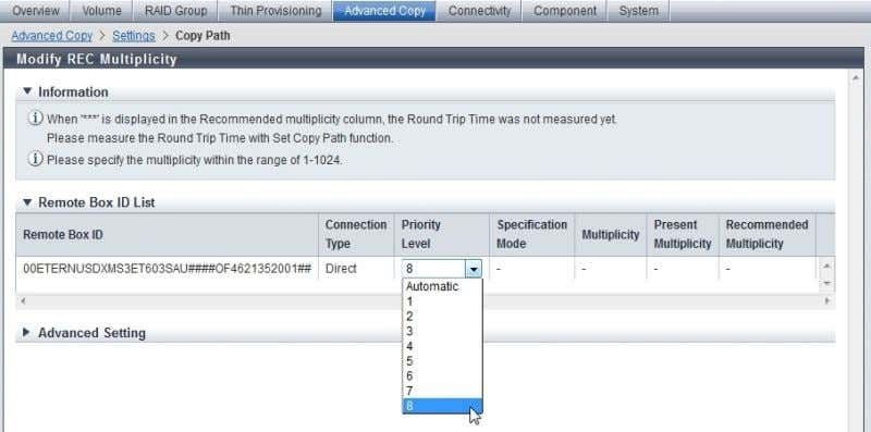 "REC Multiplicity"" to modify the ""Priority Level"". After the REC Path configuration is done, you should"
