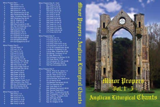 AFFORD A CANTOR, OR NEED A BACK-UP ? Minor Propers ! Anglican Liturgical Chants Through the
