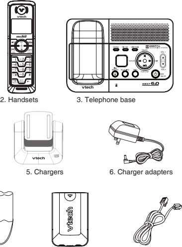 2. Handsets 3. Telephone base 5. Chargers 6. Charger adapters