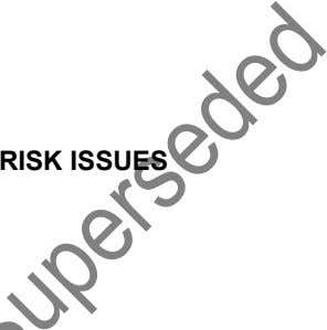 RISK ISSUES