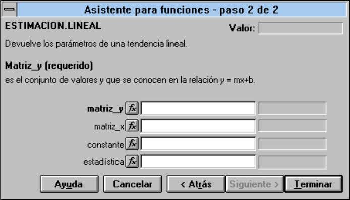 ESTIMACION.LINEAL (Matrix_Y;Matriz_X;constante;estadística) Matriz_y Valores de la Variable Independiente