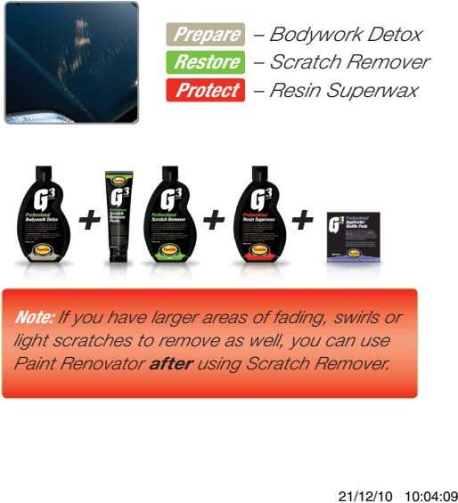 Prepare – Bodywork Detox Restore – Scratch Remover Protect – Resin Superwax + + +