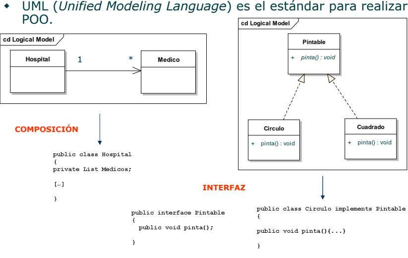 UML (Unified Modeling Language) es el estándar para realizar POO. cd Logical Model cd Logical
