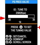 PS PRES VALVE 03 : TUNE TO 2500(Kpa) -30 30 14 PRESS OK TO SET