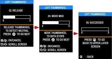 LEFT THUMBWHEEL LEFT THUMBWHEEL 02: RELEASE LEFT THUMBWHEEL 03: MOVE MOD 0 5 05: SUCCEEDED