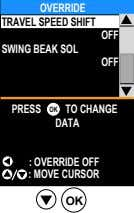 OVERRIDE TRAVEL SPEED SHIFT OFF SWING BEAK SOL OFF PRESS OK TO CHANGE DATA :