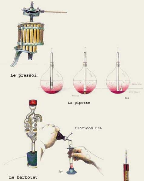 fig.1 Le pressoir fig.3 La pipette L?acidom tre fig.2 fig.4 Le barboteur