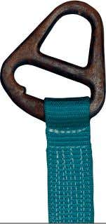 sling weight and a powder coated finish to inhibit rust. Webbing can slip with ordinary fittings.