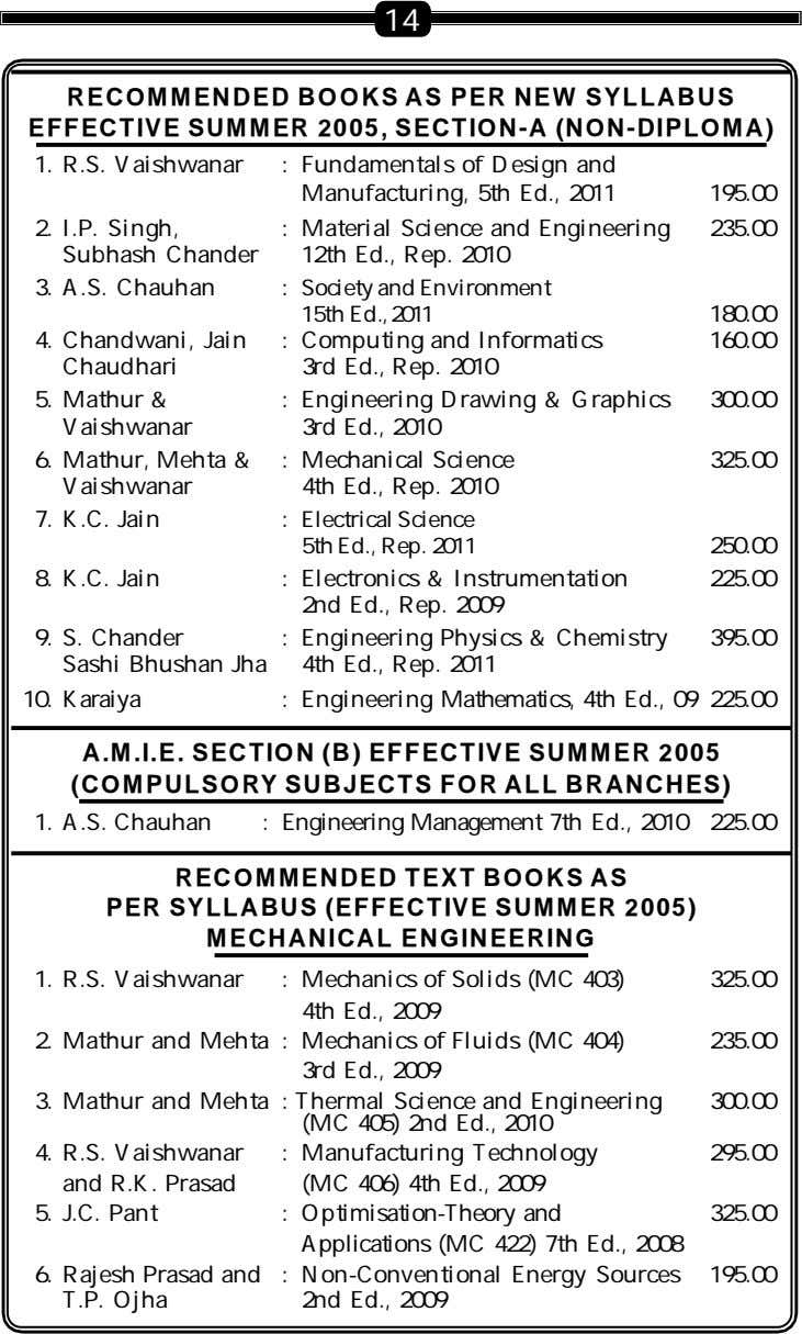 14 RECOMMENDED BOOKS AS PER NEW SYLLABUS EFFECTIVE SUMMER 2005, SECTION-A (NON-DIPLOMA) 1. R.S. Vaishwanar
