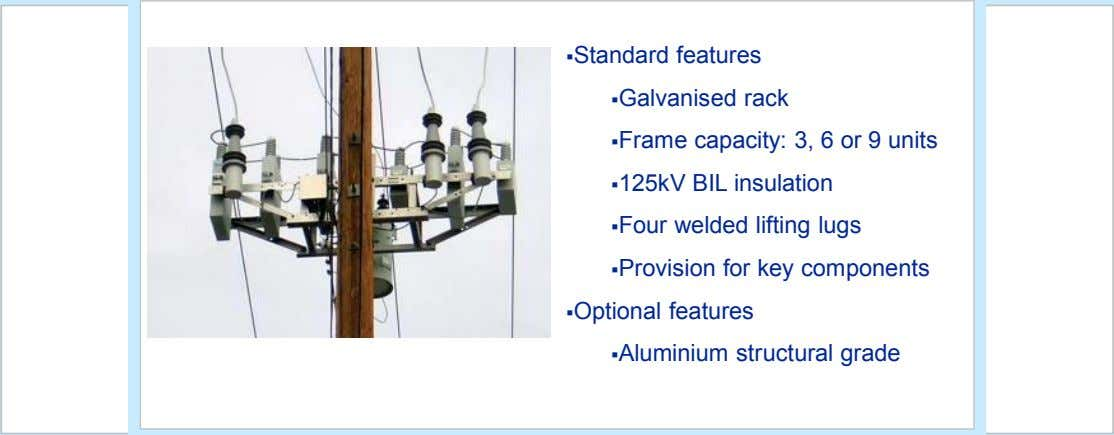 §Standard features §Galvanised rack §Frame capacity: 3, 6 or 9 units §125kV BIL insulation §Four