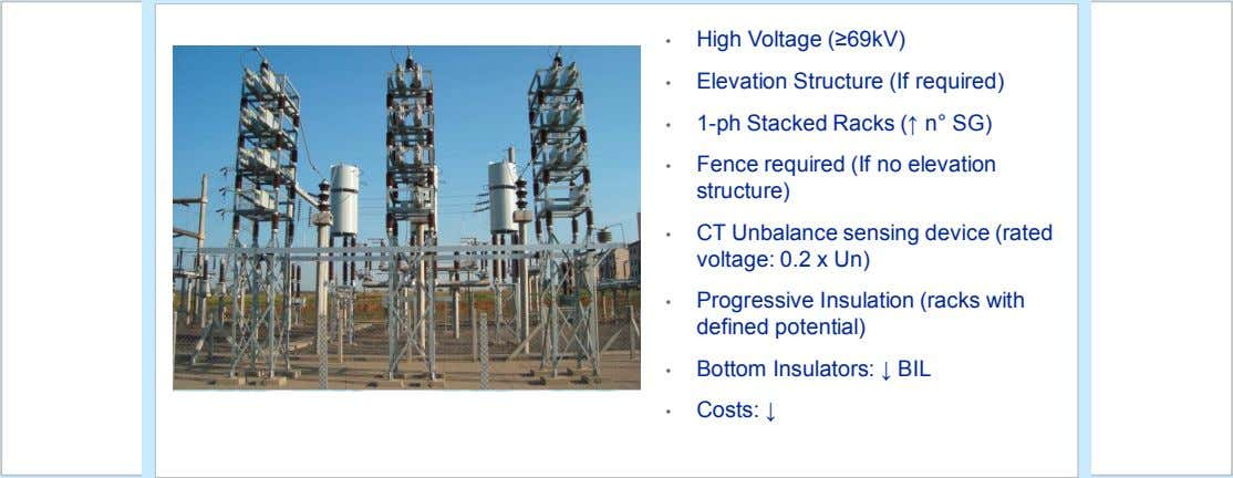 • High Voltage (≥69kV) • Elevation Structure (If required) • 1-ph Stacked Racks (↑ n°