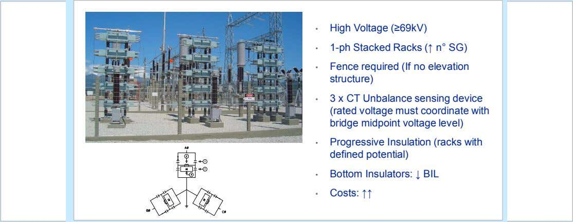 • High Voltage (≥69kV) • 1-ph Stacked Racks (↑ n° SG) • Fence required (If