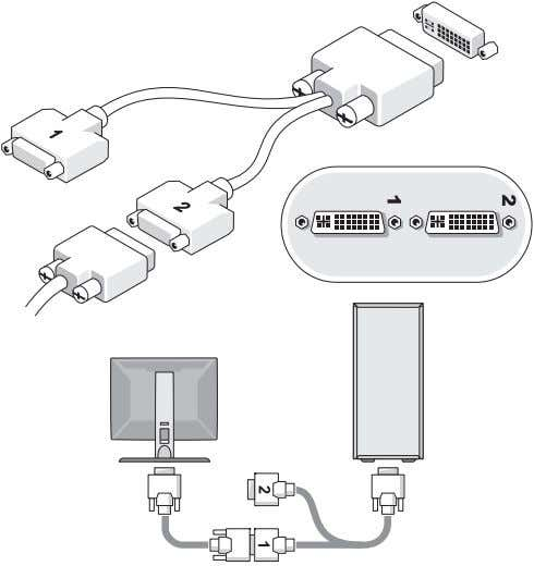 the following cables: • Dual monitor Y-adapter cable • White DVI cable • Blue VGA cable