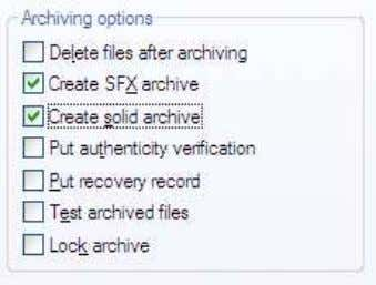 to archive Checklist created sfx archive dan solid archive lalu pilih tab advance terus klik SFX