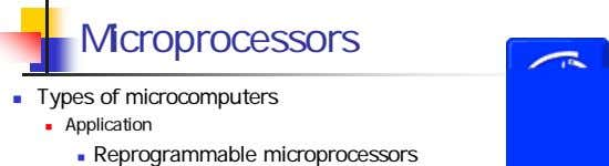 Microprocessors Types of microcomputers Application