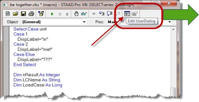 • Then with the cursor located after these click on the 'Edit User Dialog' icon on