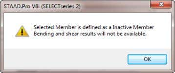 The Member Query dialog does not display bending moments on members that are inactive in one