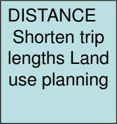 DISTANCE Shorten trip lengths Land use planning