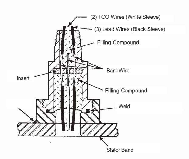 (2) TCO Wires (White Sleeve) (3) Lead Wires (Black Sleeve) Filling Compound Bare Wire Insert