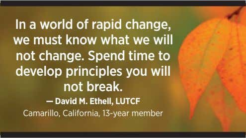In a world of rapid change, we must know what we will not change. Spend