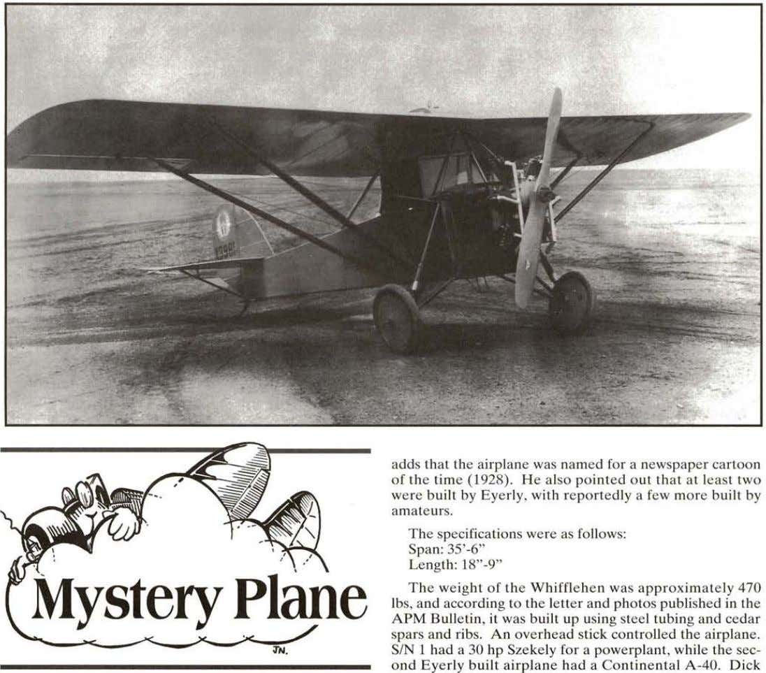 adds that the airplane was named for a newspaper cartoon of the time (1928). He