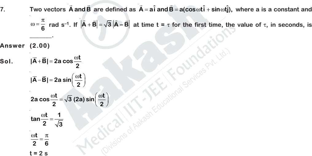 ˆˆ 7. Two vectors A and B are defined as A  ai ˆ and