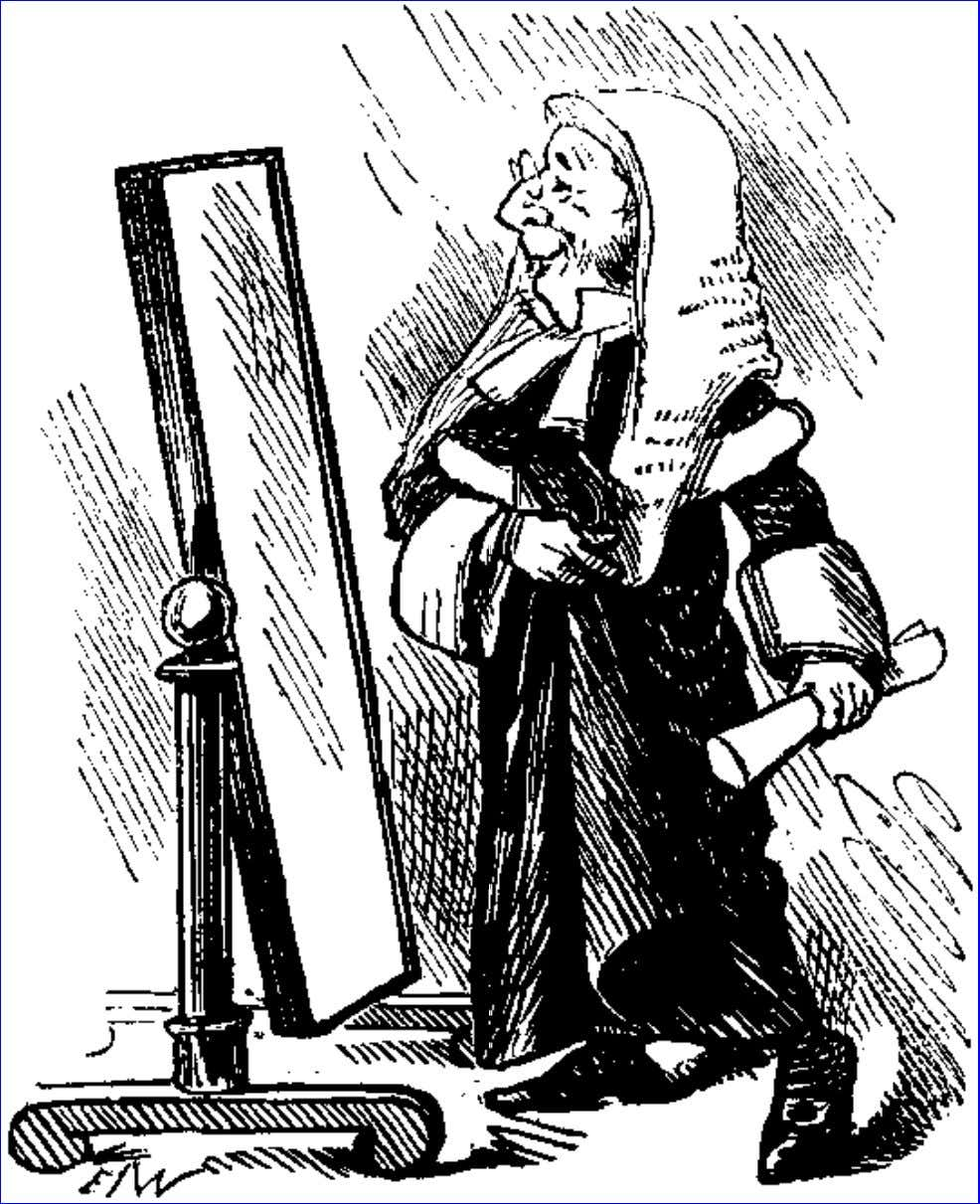 Punch, November 29, 1890. The Mirror of Justice. For drawing-room plays apply to GEORGE ROUTLEDGE, who