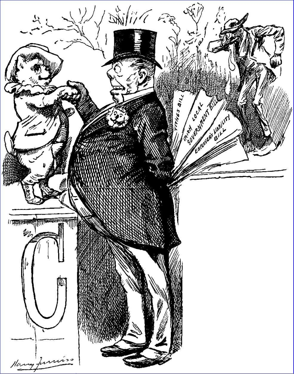 Punch, November 29, 1890. Charmed to have a visit from OLD MORALITY to-day. Most kind of