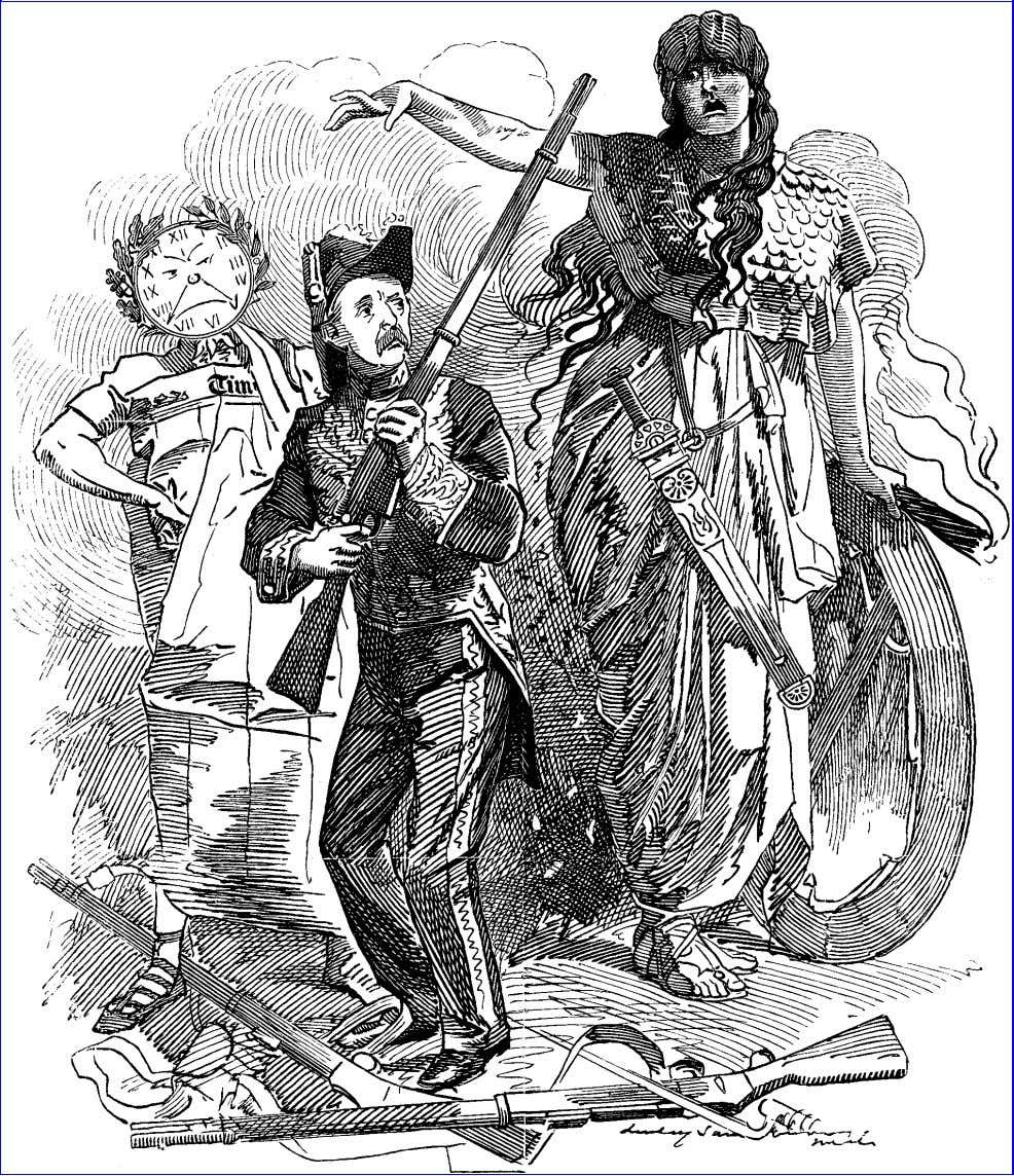 "Punch, November 29, 1890. Bellona ( to the ""Times"" and Mr. Stanhope ). ""I SUPPOSE, GENTLEMEN,"