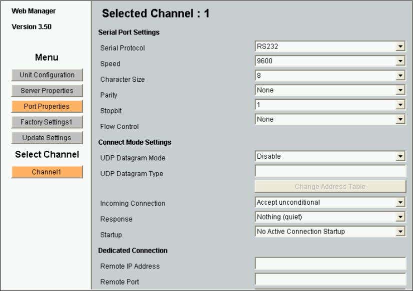 Web Manager page displays. Figure 4-3. Lantronix Web Manager 2. Use the menu (pushbuttons) to navigat