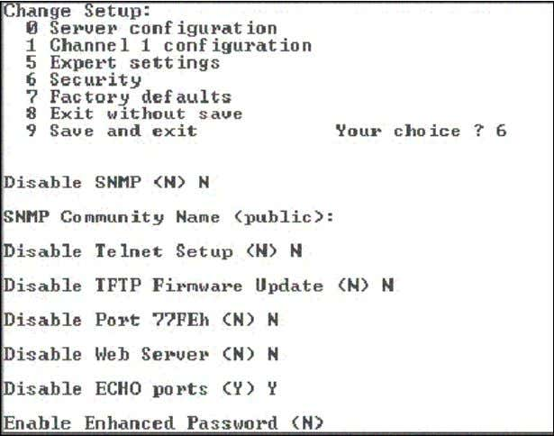 Setup Mode from the network. Figure 5-8. Security Settings Disable SNMP This setting disables the SNMP