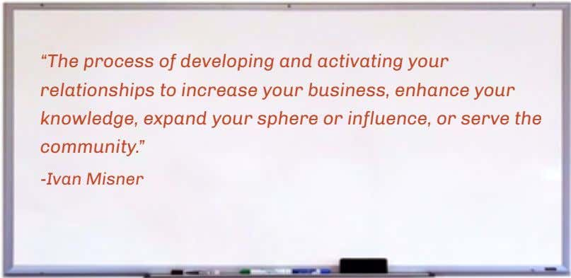 """The process of developing and activating your relationships to increase your business, enhance your knowledge,"