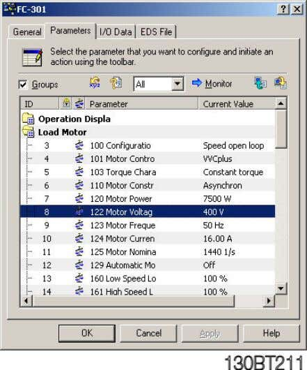 the FC 300 and the parameters can be changed and downloaded. Parameter written from RS Networx