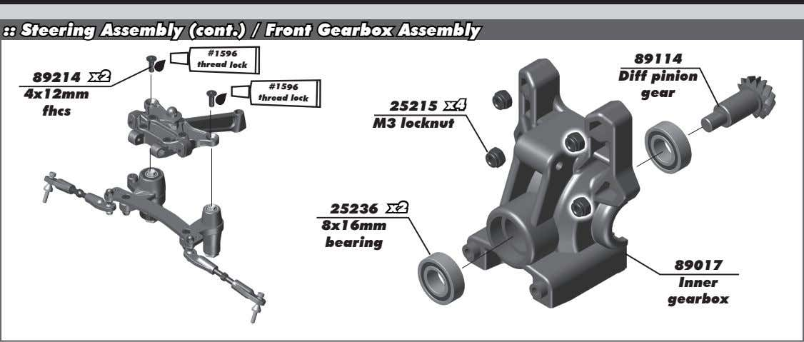 :: Steering Assembly (cont.) / Front Gearbox Assembly #1596 thread lock 89114 89214 x2 Diff