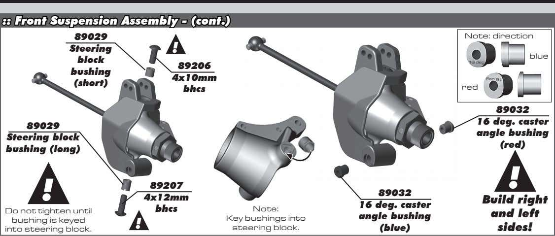 :: Front Suspension Assembly - (cont.) 89029 Note: direction Steering ! blue block 16 deg