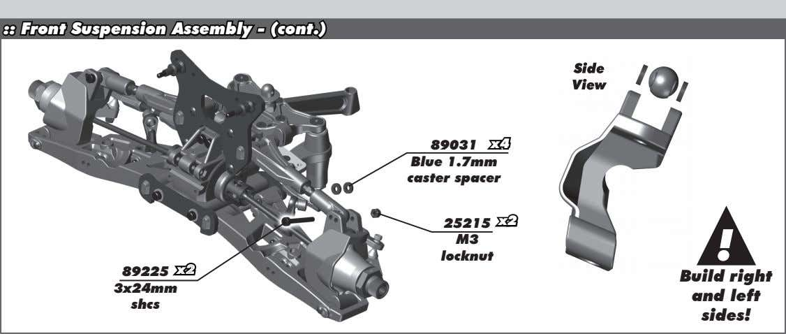 :: Front Suspension Assembly - (cont.) Side Side View View 89031 x4 Blue 1.7mm caster